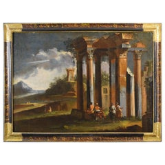 18th Century, Venetian School Painting with Architectural Capriccio