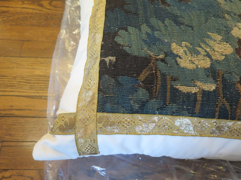18th Century Verdure Tapestry Pillow In Excellent Condition For Sale In Houston, TX