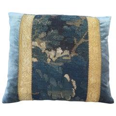 Maison Maison 18th Century Verdure Tapestry with Blue Silk Velvet Pillow