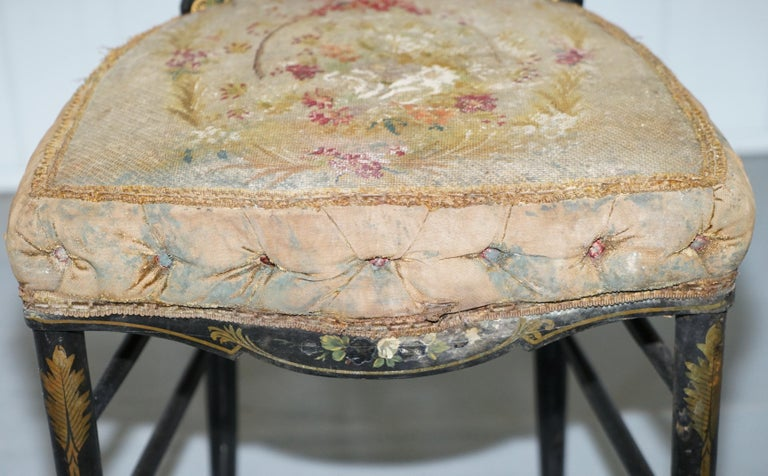 18th Century Very Rare Early Georgian Hand Painted Chinoiserie Ebonized Chair For Sale 4