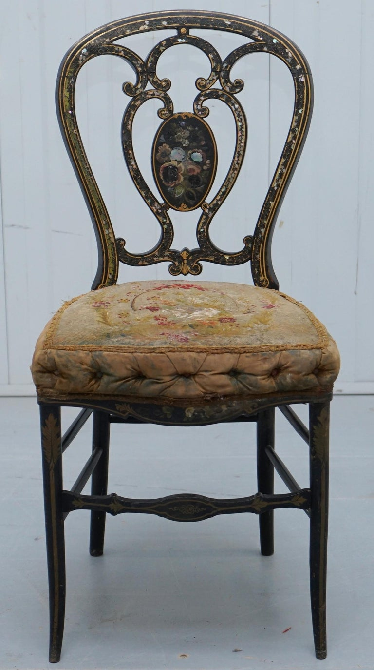 Wimbledon-Furniture  Wimbledon-Furniture is delighted to offer for sale this lovely mid 18th century George III chinoiserie black ebonised occasional chair  I absolutely love this chair, it is a very rare find, the paint work is nicely faded and