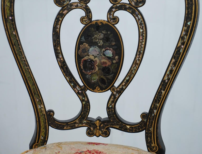 18th Century and Earlier 18th Century Very Rare Early Georgian Hand Painted Chinoiserie Ebonized Chair For Sale