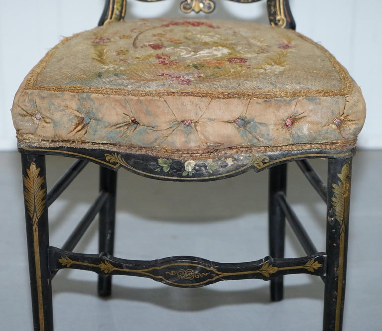 18th Century Very Rare Early Georgian Hand Painted Chinoiserie Ebonized Chair For Sale 1