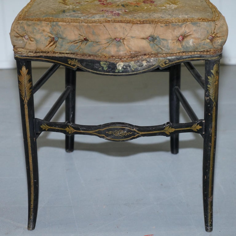 18th Century Very Rare Early Georgian Hand Painted Chinoiserie Ebonized Chair For Sale 2