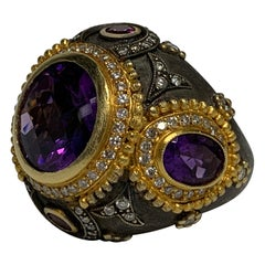 18th Century Victorian (Style) Custom Amethyst / Diamonds 18k Gold Silver Ring
