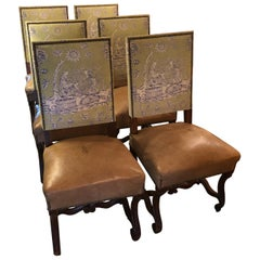 18th Century Vintage Louis XIV Style Dining Chairs with Leather & Toile