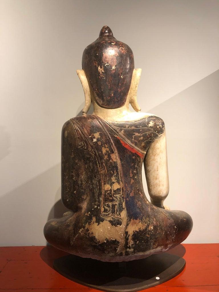 Burmese 18th Century, Virasana Buddhain Bhumisparsa Mudra, Mandalay Period, Burma For Sale