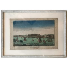 18th Century Vue d'Optique Hand-Colored Engraving of a Vue de Pondichery