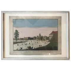 18th Century Vue d'Optique Hand-Colored Engraving of La Maison du Roy