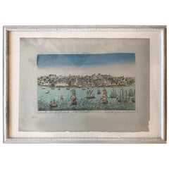 18th Century Vue d'Optique Hand-Colored Engraving of Lisbon