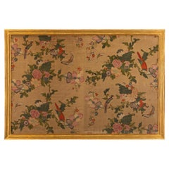 18th Century Wall Panel of Hand Painted Asian Silk
