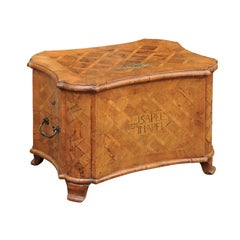 18th Century Walnut Box with Marquetry Décor and Inlaid Motifs on Scrolling Feet