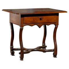 18th Century Walnut Louis XIV Antique Side Table with One-Drawer