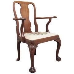18th Century Walnut Open Armchair