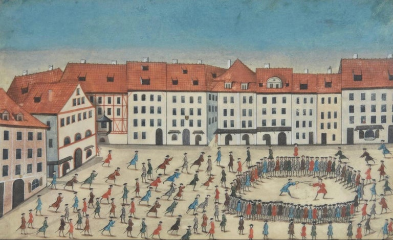 A truly rare and remarkable scene of hundreds of swordsmen meeting in a towns square. The circle is closed around the two in the duel, each of whom have drawn blood. German school 18th century. Titled Duel at Jena and indistinctly signed on the