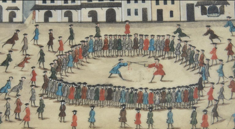 Folk Art 18th Century Watercolor of a Great Sword Duel in Germany For Sale