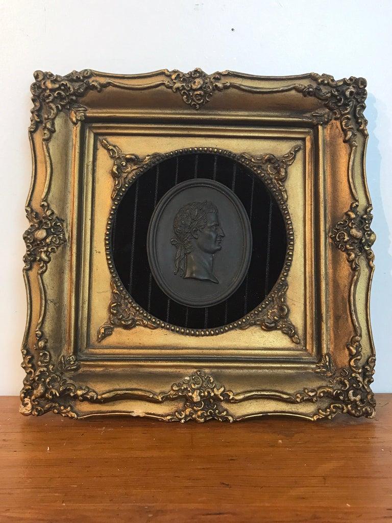 18th century Wedgwood black basalt Roman Emperor plaque, The plaque measures 4