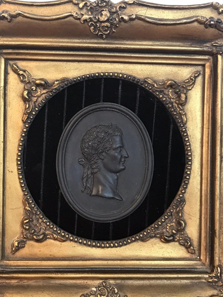 18th Century Wedgwood Black Basalt Roman Emperor Plaque In Good Condition For Sale In West Palm Beach, FL