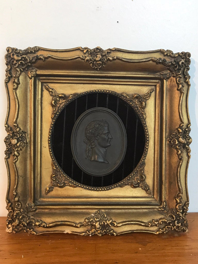 18th Century and Earlier 18th Century Wedgwood Black Basalt Roman Emperor Plaque For Sale