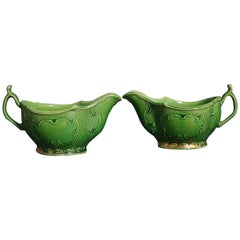 18th Century Whieldon-Type Green-Glazed Sauceboats with Remains of Original Gilt