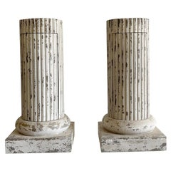 18th Century White-Grey French Pair of Pinewood Column Chests