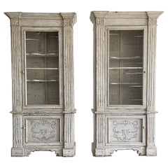 18th Century White-Grey French Pair of Walnut Display Cabinets