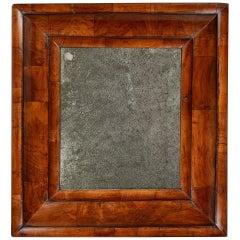 18th Century William and Mary Figured Walnut Cushion Mirror, circa 1690, England