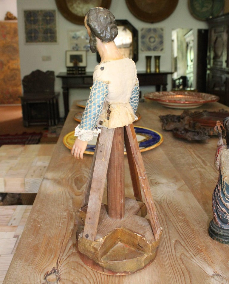 Polychromed 18th Century Wood and Felt Paper Spanish Hand-Carved Polychrome Sculpture For Sale