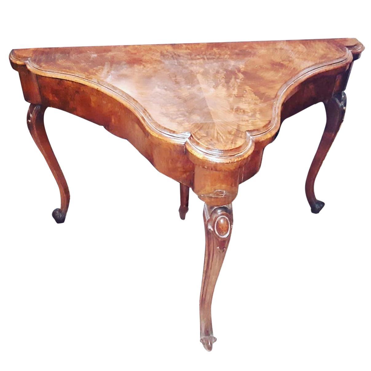 18th Century Wood George III Walnut Game Table Card Table, 1790s