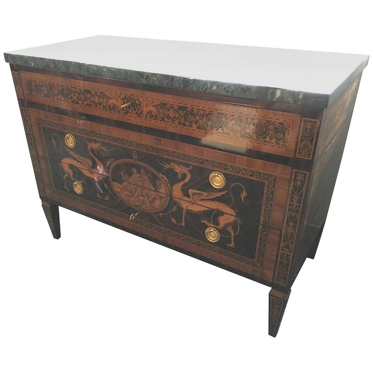 18th Century Wood Louis XVI Walnut G.B.M Italian Chest of Drawers Marble, 1798s For Sale