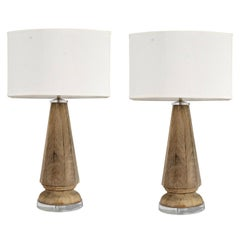 18th Century Wooden Finial Lamps with Acrylic Bases