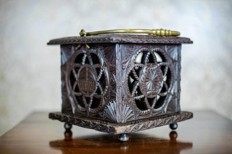 Brass 18th Century Wooden Foot Warmer For Sale