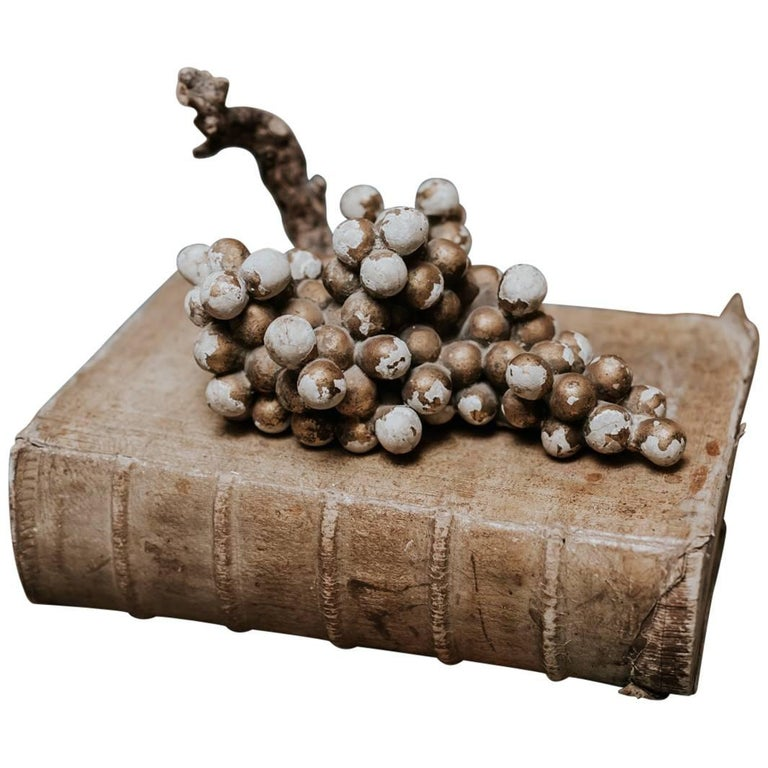 18th Century Wooden Polychromed/Gilt Sculpture of Grapes For Sale