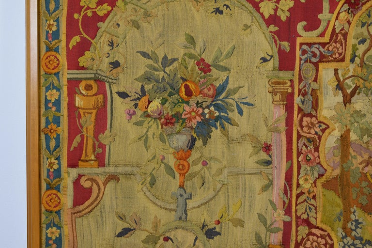 Louis XV 18th Century Wool Tapestry with Floral Decorations and River Landscape For Sale