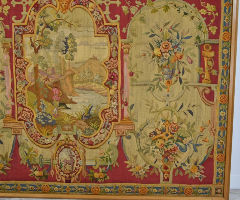 18th Century Wool Tapestry with Floral Decorations and River Landscape In Good Condition For Sale In , IT