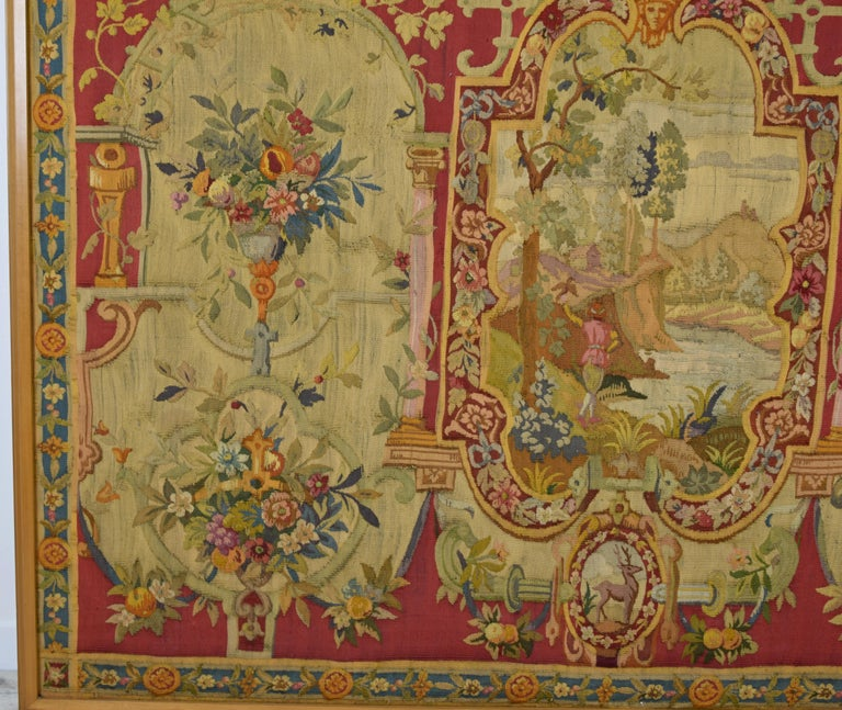 18th Century and Earlier 18th Century Wool Tapestry with Floral Decorations and River Landscape For Sale