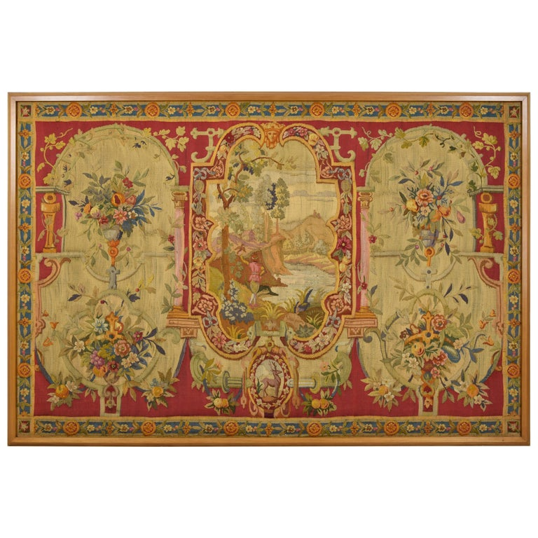18th Century Wool Tapestry with Floral Decorations and River Landscape For Sale