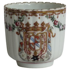 18th Century Worcester Porcelain Coffee Cup hand paintd Armorial Ptn, circa 1795