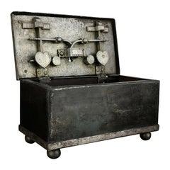 18th Century Wrought Iron Antique Safe, Strongbox, Armada Chest, Iron Casket