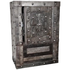 18th Century Wrought Iron Italian Antique Hobnail Safe Strongbox Bar Cabinet