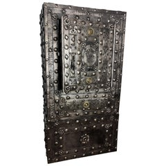 18th Century Wrought Iron Italian Antique Hobnail Safe Strongbox Cabinet