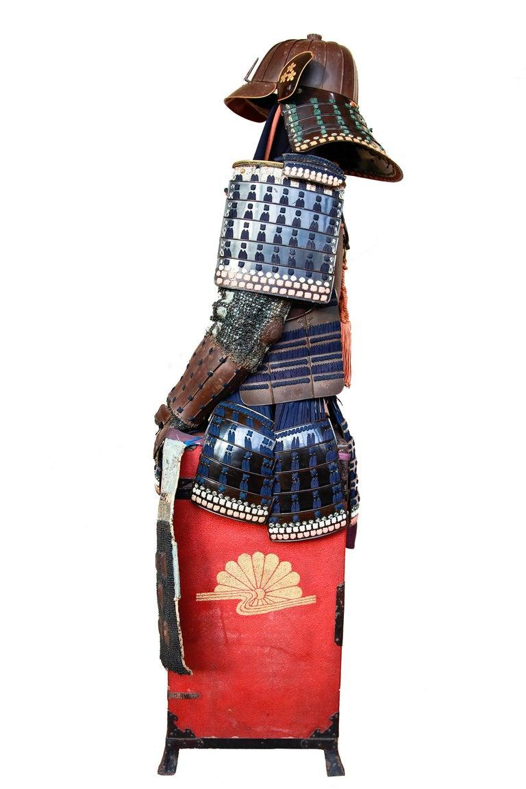 Edo 18th Century Yoroi Japanese Decorative Samurai Armour with Original Box For Sale