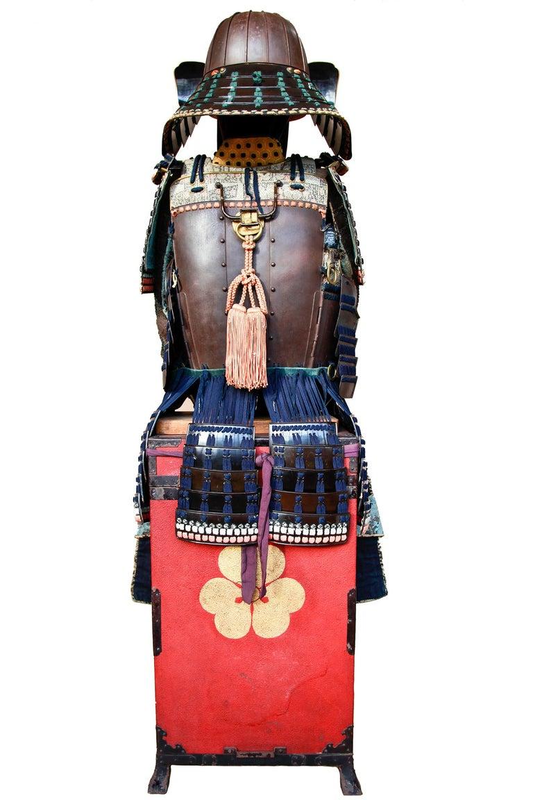 Lacquered 18th Century Yoroi Japanese Decorative Samurai Armour with Original Box For Sale