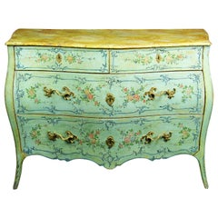 18th Century Italian Polychrome Lacquered Wooden Dresser with Floral Decorations