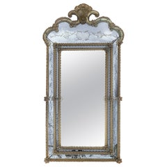18th Century Crest Top Venetian Rectangular Mirror, Handmade and Hand Silvered