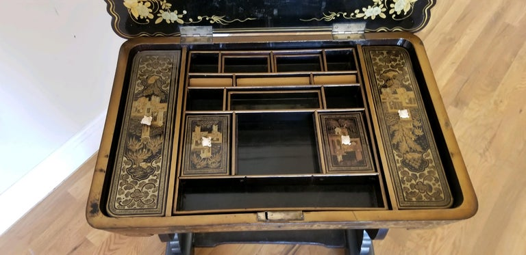 18th Early-19th Century Chinoiserie Sewing Table For Sale 4