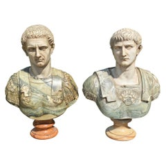 18th-Early 19th Century Italian Neoclassical Specimen Marble Busts of Caesars