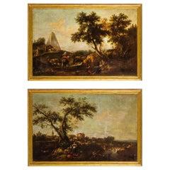 18th, Giuseppe Zais Italian Oil on Canvas Archaic Landscapes Pair of Paintings