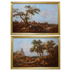 18th, Giuseppe Zais Attributed Italian Oil on Canvas Archaic Landscapes