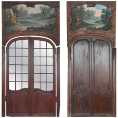 18th Century Mahogany Doors Louis XV Period Decorated with Hunting Painting